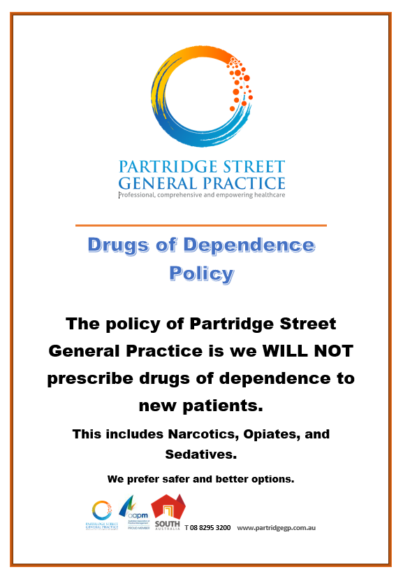 Partridge Street General Practice drugs of dependence policy