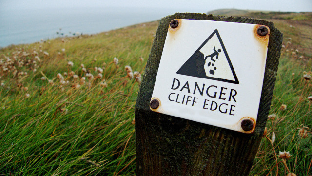 Danger cliff edge