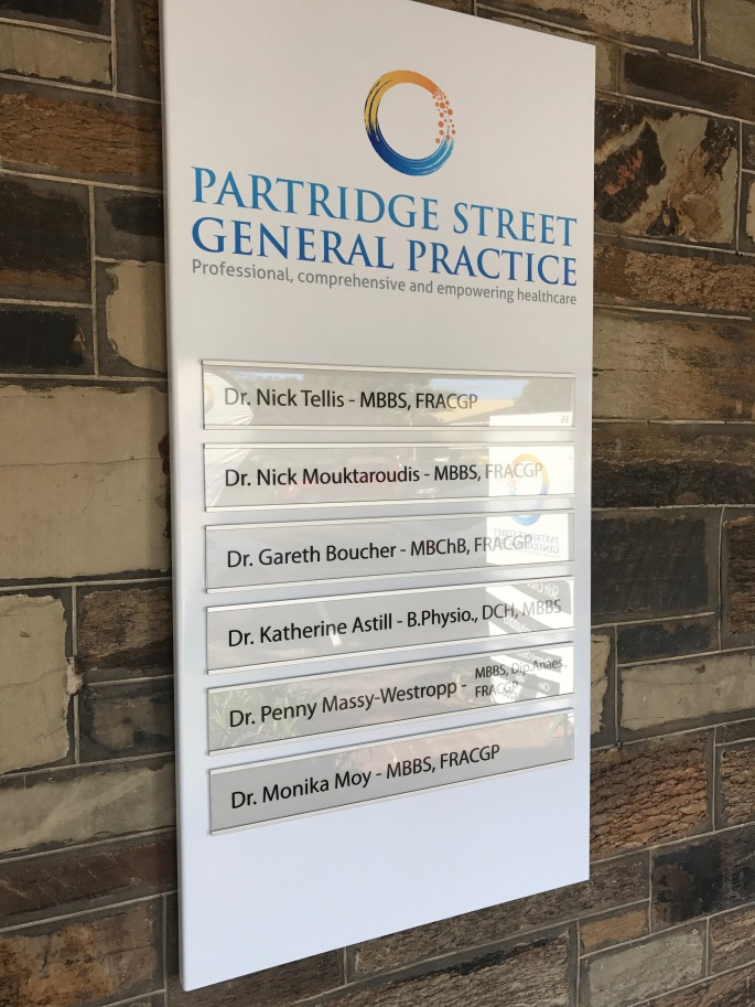 Partridge Street General Practice sign
