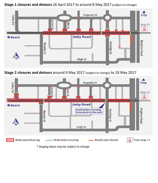 road closures partridge glenelg jetty road tram