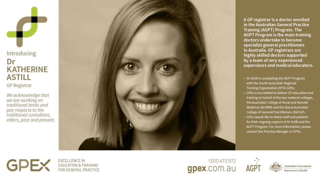 Dr Katherine Astill Partridge Street General Practice new female registrar