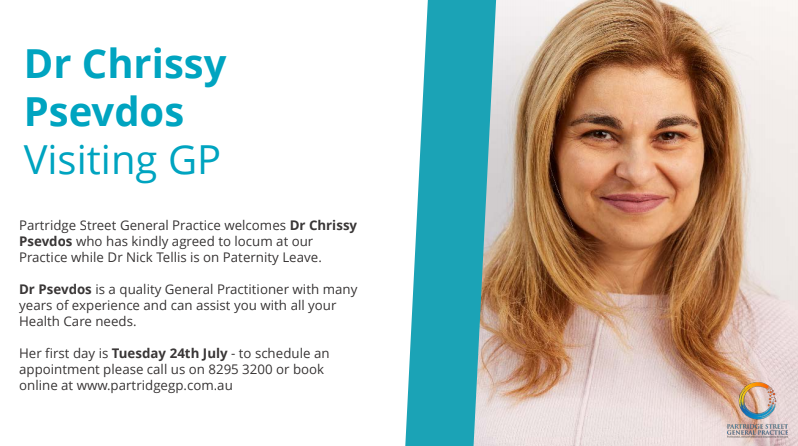 dr chrissy psevdos at Partridge Street General Practice