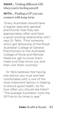 dr nick tellis coles health and beauty the money quote